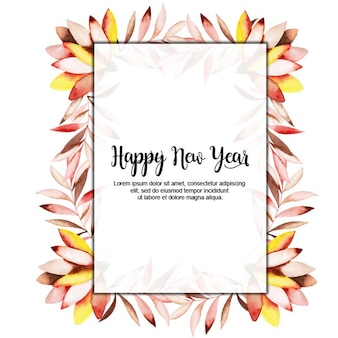 Aquarell New Year Floral Frame