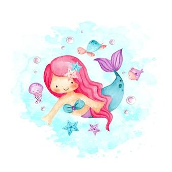 Aquarell niedliche kleine meerjungfrau