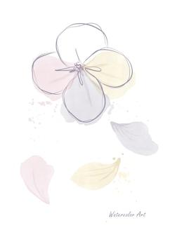 Aquarell niedliche kunsteinladungskarte aus pastellfarbenen blumen und fallenden blütenblättern. botanisches aquarell der kunst handgemalt lokalisiert auf weißem hintergrund. pinsel in datei enthalten.
