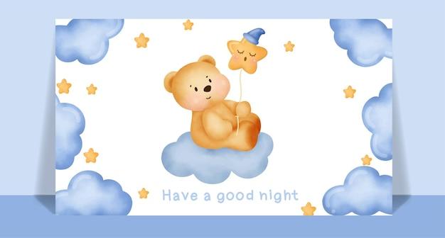 Aquarell niedlicher teddybär, der einen stern für postkarte hält.