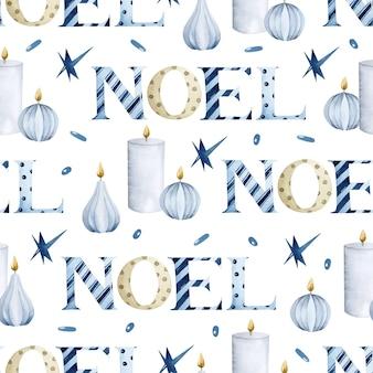 Aquarell noel-schriftzug mit nahtlosem muster der rustikalen kerzen