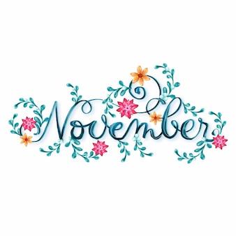 Aquarell november schriftzug