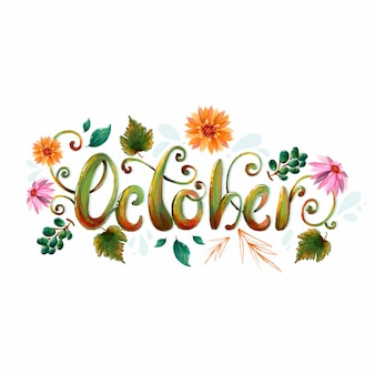 Aquarell oktober schriftzug