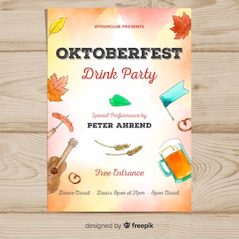 Aquarell oktoberfest poster vorlage