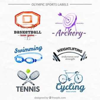 Aquarell olympische sportarten etiketten