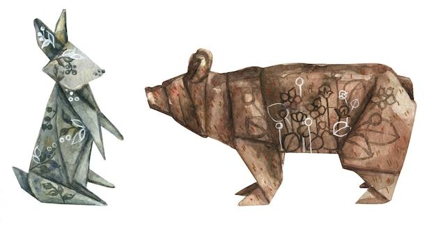 Aquarell origami aus papier eines niedlichen hasen und bären verziert