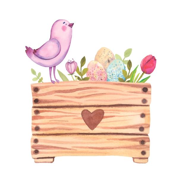 Aquarell ostern illustration.