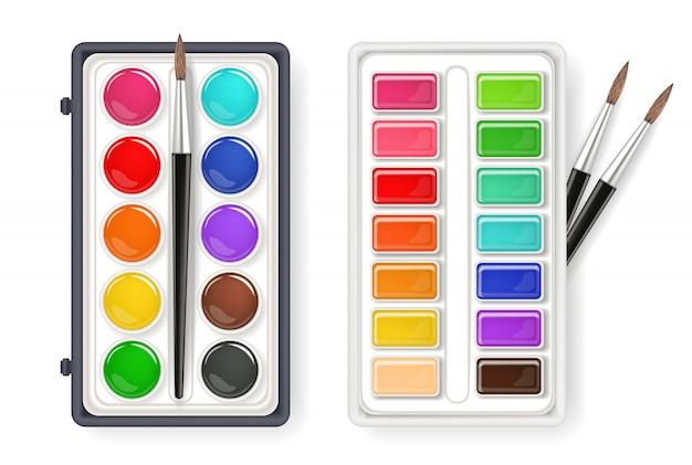 Aquarell palette zeichnung sammlung