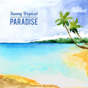 Aquarell paradies strand hintergrund