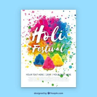 Aquarell party poster für holi festival