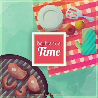 Aquarell picknick und barbecue hintergrund