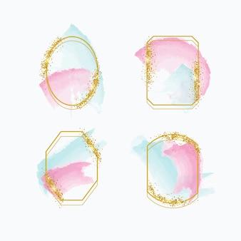 Aquarell pinselstriche glitzer-frame-set