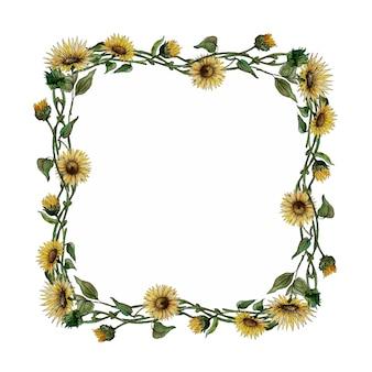 Aquarell quadratischer rahmen mit sonnenblumen