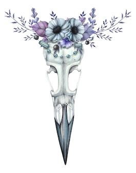 Aquarell rabenschädel mit einem blumenkranz in blautönen
