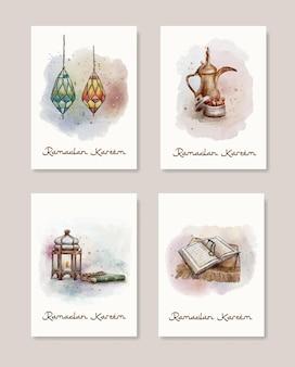 Aquarell ramadan kareem grußkarte