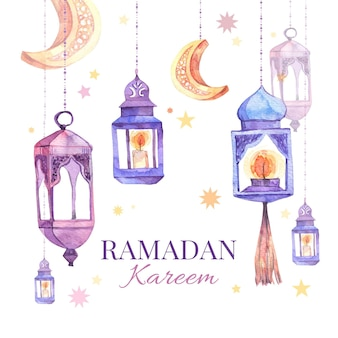 Aquarell ramadan kareem illustration Kostenlosen Vektoren