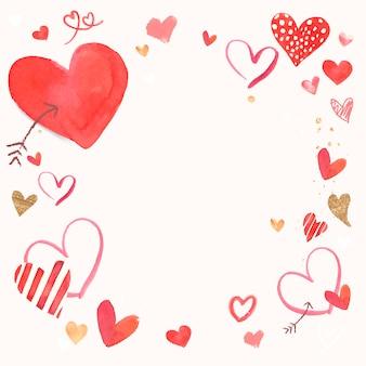 Aquarell-randillustration des valentinsgrußes