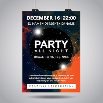 Aquarell rauch party poster designs
