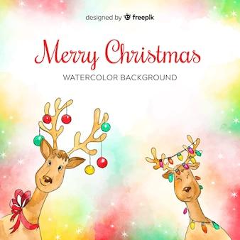 Aquarell rentiere weihnachten hintergrund