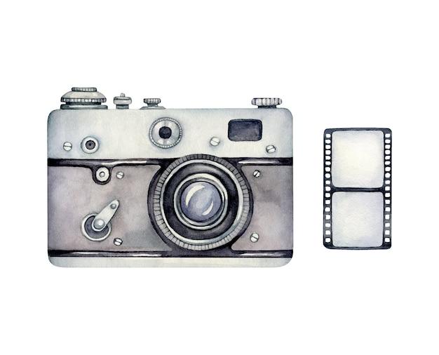 Aquarell retro kamera und foto