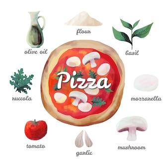 Aquarell rezept pizza Kostenlosen Vektoren