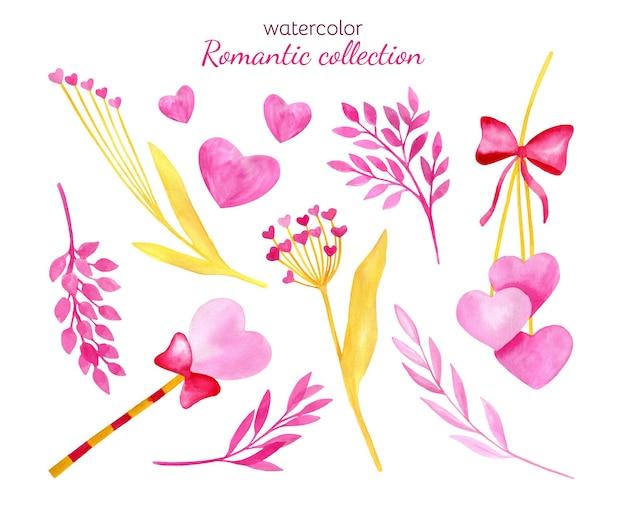 Aquarell romantisches set zum valentinstag