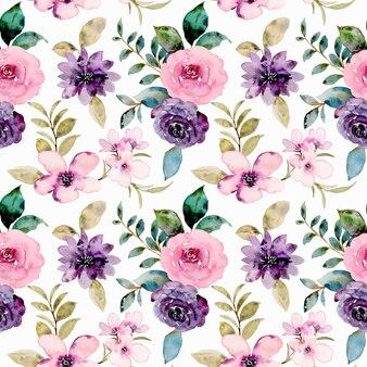 Aquarell rosa lila rosenblüte nahtloses muster