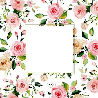 Aquarell-rosa rosen-blumenrahmen