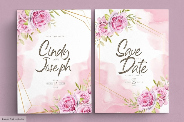 Aquarell rosa rosen einladungskartenset