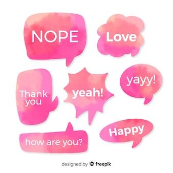 Aquarell rosa sprechblasen mit einer vielzahl von ausdrücken