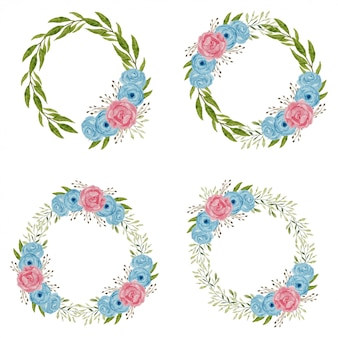 Aquarell rose blume kranz illustration
