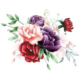Aquarell rose bouquet hintergrund
