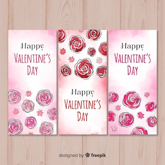 Aquarell rosen valentinstag banner