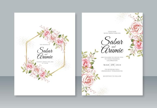 Aquarell rosenblütenmalerei und geometrische grenze für hochzeitseinladungsschablone