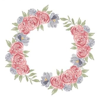 Aquarell-rosenblumenkreisrahmen