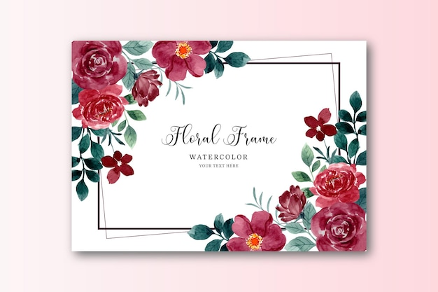Aquarell rote rose blumenkarte