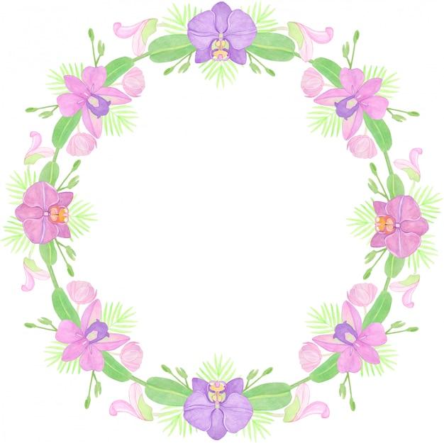 Aquarell runder rahmen mit zweigen von orchideen und knospen. perfekt für grußkarten, einladungen.
