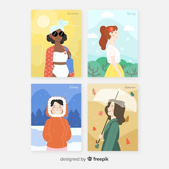 Aquarell saisonale plakatvorlage sammlung