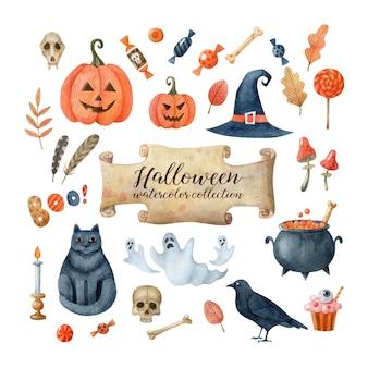 Aquarell-sammlung von halloween-cliparts isoliert auf weißem hintergrund feiertagsillustration