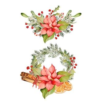 Aquarell-sammlung von weihnachtsblumen