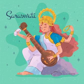 Aquarell saraswati, das auf einem musikinstrument spielt