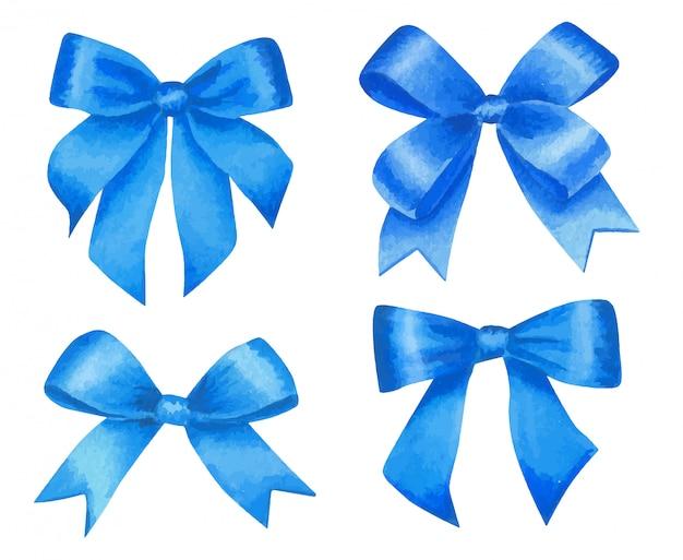 Aquarell-satz der blauen satinschleifen.