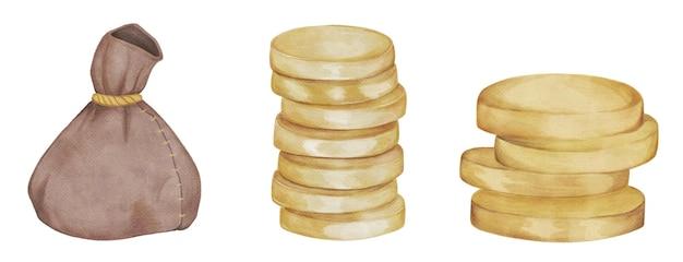 Aquarell-satz geknoteter geldbeutel-goldmünzen
