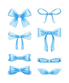 Aquarell-satz von verschiedenen blauen schleifen