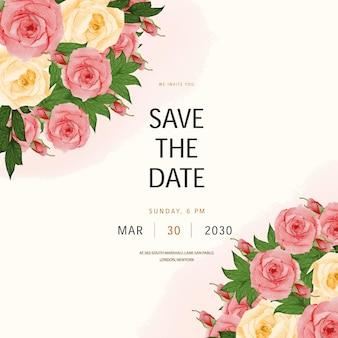 Aquarell save the date hochzeitseinladungskarte