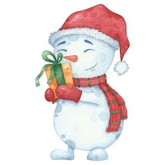 Aquarell schneemann in schal und mütze mit geschenk. weihnachtshand gezeichnete illustration