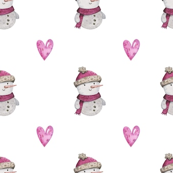 Aquarell schneemann weihnachten nahtlose muster
