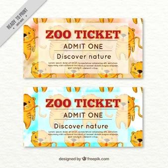Aquarell schöne tiger zoo-tickets