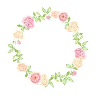 Aquarell schöner englischer rosenblumenstraußkranzrahmen lokalisiert