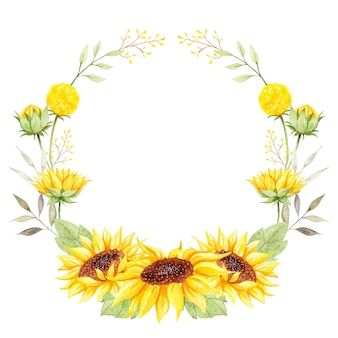 Aquarell schöner sonnenblumenkranz